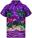 Funky Hawaiian Shirt, Parrot, Viola, M