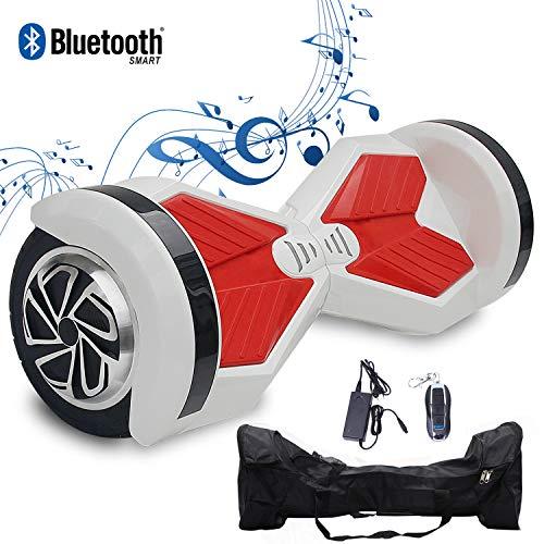 2WD Hoverboard Scooter Eléctrico 2 Rueda Self Balancing Scooter con Bluetooth Scooter Eléctrico 8'- 2 * 350W (Blanco Rojo)