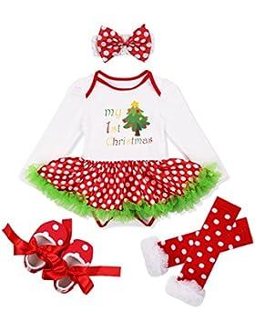 YiZYiF 4 Stück Neugeborenes Baby Mädchen Weihnachten Strampler Langarm mit Tütü Kleid Beinwärmer Schuhe Stirnband...