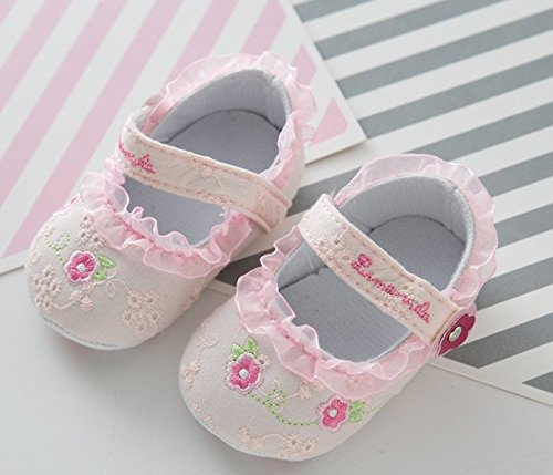 Girl 6 12 Printed Baby Soft Sweet Cotton Shoes 5five Flowers Monday Pink Soled Lace UqSHz7wx