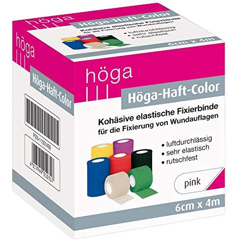 Höga Color pink 6 cm x 4 m gedehnt - Sonderedition kohäsive selbsthaftende elastische Fixierbinde für die Fixierung von Wundauflagen, 1 Stück