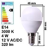 LED Lampe E14 12V 4W A+ warmweiß 3000K 320lm Birne Energiesparlampe Volt Leuchte