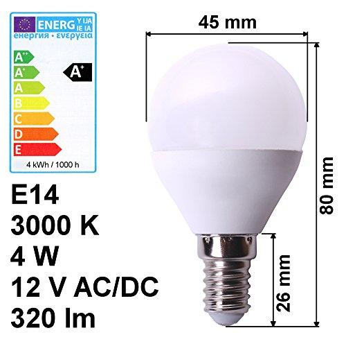 edi-tronic LED Lampe E14 12V 4W A+ warmweiß 3000K 320lm Birne Energiesparlampe Volt Leuchte -
