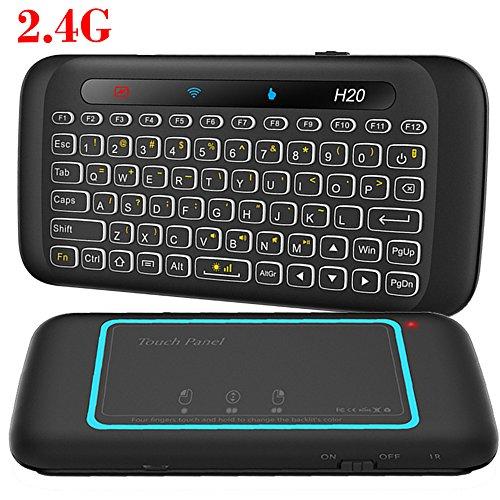 Mini Tastatur, LinStar H20 2.4G Wireless Gaming Tastatur mit Touchpad Maus RGB Hintergrundbeleuchtung Smart Remote TV Controller für Android TV Box, Windows PC, Laptop, HTPC, IPTV, Raspberry Pi, XBOX 360, PS3, Ps4