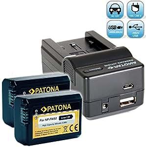 Bundlestar Akku Ladegerät 4 in 1 inkl. Ladeschale für Sony NP-FW50 + 2x PATONA Ersatzakku für Sony NP-FW50 passend zu Sony ILCE QX1 Alpha 5000 5100 6000 Alpha 7 CyberShot DSC RX10 -- Sony NEX-6 NEX-F3 NEX-7 NEX-7B NEX-7C NEX-7K NEX-3 NEX-3N NEX-C3 Nex-5 NEX-5N NEX-5K NEX-5R SLT A55 A33 A35 A37 A3000 usw -- mit Kfz-Adapter, Netzstecker deutsch, USB und -- NEUHEIT mit Micro USB Anschluss !