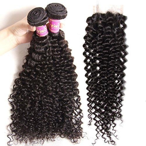 3 Way partie 1 4 x 4 fermeture en dentelle avec cheveux vierges brésiliens 3 lots de Tissages de cheveux humains Couleur naturelle (14 16 18 + 30,5 cm)