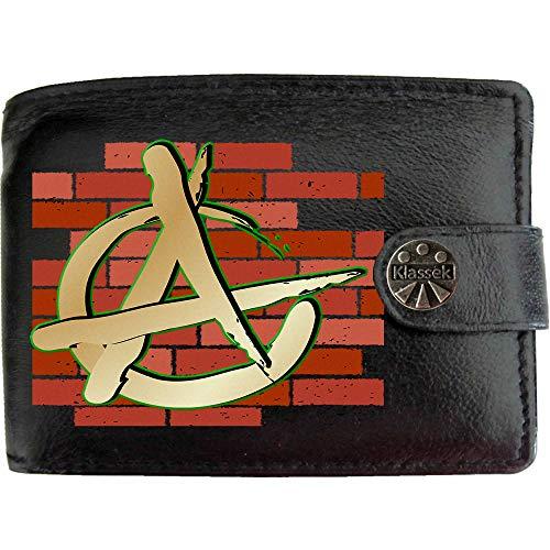 Anarchy Anarchie Symbol Wand Chaos Revolution Bild auf KLASSEK Marken Herren Geldbörse Portemonnaie Echtes Leder RFID Schutz mit Münzfach Zubehör Geschenk mit Metall Box (Metall-anarchie-symbol)
