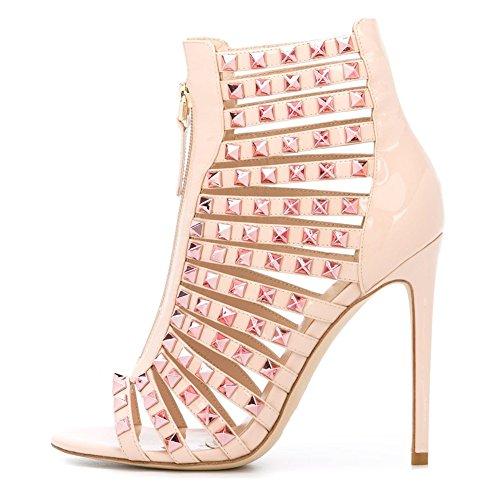 Damen Peep Toe Lackleder Römersandalen High-Heels Stiletto mit Nieten Reißverschluss Champagne Gold
