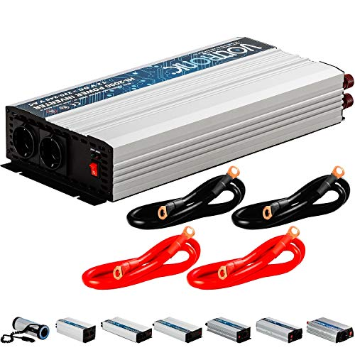 VOLTRONIC® MODIFIZIERTER Sinus Spannungswandler 2000W mit E-Kennzeichen, 12V auf 230V, 3 Jahre Garantie, Stromwandler Inverter Wechselrichter Auto PKW