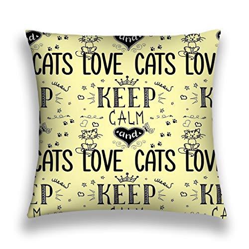 908iop 980 Kissenbezüge Throw Pillow Cover Pillowcase Funny Phrase Keep Calm Love Cats Funny Phrase Keep Calm Love Cats Retro Sofa Home Decorative Cushion Case 18