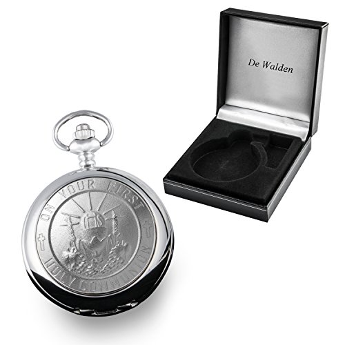 86e40b1078ae De Walden Boy s Engraved 1st Holy Communion Mother of Pearl Face Pocket  Watch in a Gift