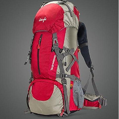 optuny Outdoor grande capacità di uomini e donne Ultra-Light impermeabile offload dell' arrampicata di traspirante da viaggio Zaini, Rosso, aggiornamento 50L + parapioggia