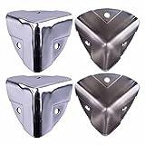 4X Silber Metall-Eckwinkelschutz für Holzkoffer Koffer Koffer Kofferkoffer Flightcase