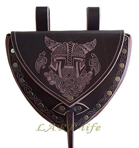 (von LARP-life: Praktische Leder Gürteltasche mit Odin Verziehrung Wikinger Zwerg Fantasy)