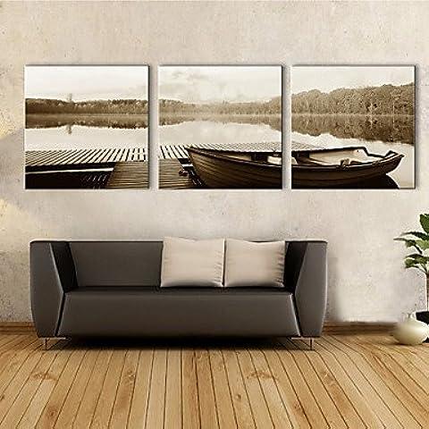 GG Trasferimenti su tela Art Paesaggio Lago Barca Set di 3 , 16