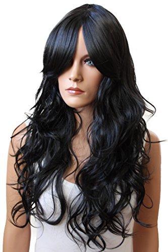 Cosplay Roten Haaren Kostüme Mit (PRETTYSHOP Sexy Perücke Wig langhaar gewellt Cosplay Partyperücke Fasching diverse Farben (schwarz 1)
