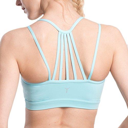 Damen Athleisure Yoga Freizeit nahtlos Sport BH(L,Blau)