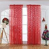 Wokee Weihnachten Schneeflocke Voile Vorhänge Gardine Schal Dekoschal Tüll Fenster Behandlung Voile Drape Valance 110 cm x 250 cm (Rot)