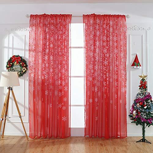 Wokee Weihnachten Schneeflocke Voile Vorhänge Gardine Schal Dekoschal Tüll Fenster Behandlung Voile Drape Valance 110 cm x 250 cm (Rot) -