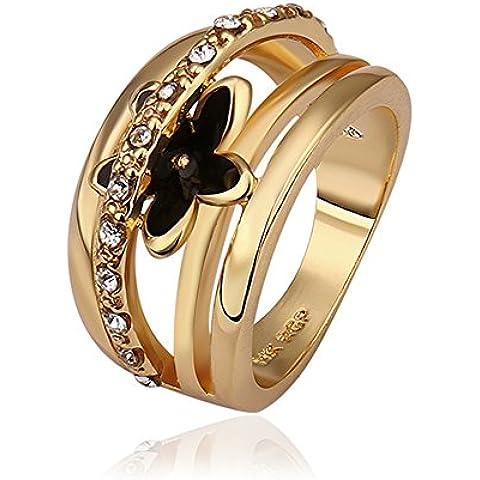 Elegant NYKKOLA Jewelry Beautiful Flower Austian di cerchio in oro giallo 18 k, a forma (Oro Giallo Mens Wedding Band)