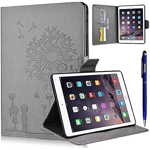 iPad 6 / iPad Air 2 Cover, Yotaka PU Case Flip Libro Ultra Sottile Leggero Retro Custodia Dandelion Motivo Antiurto Custodia Portafoglio Con Supporto Magnetica Protettiva Elastica Wallet Custodia 1*Penna Stilo - Grigio
