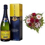 Monopole Heidsieck Blue Top Brut Champagner + Blumenstrauß Herzblatt