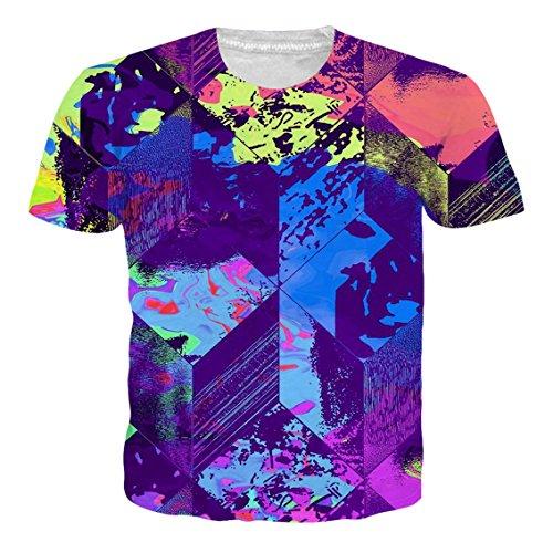Loveternal Herren Geometrisches Mosaik T-Shirt 3D Muster Gedruckt Bunt Casual Kurzarm Tops Tees XXL (Herren Gedruckt T-shirts)
