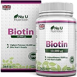 Biotine 10000 µg | Vitamine B8 pour la Pousse des Cheveux | Cure d'Un An/365 Comprimés | Compléments alimentaires de Nu U Nutrition