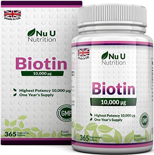 Biotine 10000 µg - Vitamine B8 - Cure d'Un An/365 Comprimés