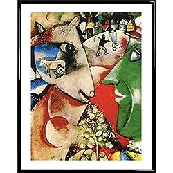 Marc Chagall Póster Impresión Artística con Marco (Plástico) - I And The Village (50 x 40cm)