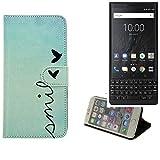 K-S-Trade® Für BlackBerry KEY2 (Dual-SIM) Hülle Wallet Case Schutzhülle Flip Cover Tasche Bookstyle Etui Handyhülle ''Smile'' Türkis Standfunktion Kameraschutz (1Stk)