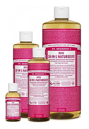 18 In 1 Hanf (Dr. Bronner´s Naturseife Rose 18-in-1 Magic Soap natürliche Flüssigseife aus biologischem Anbau, vegan, keine Zusatzstoffe, Fair Trade zertifizierte Bioseife (1x240ml))