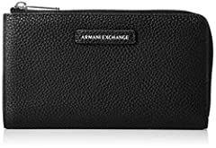 Idea Regalo - ARMANI EXCHANGE Round Zip Wallet - Portafogli Donna, Nero (Black), 11x2x19 cm (B x H T)