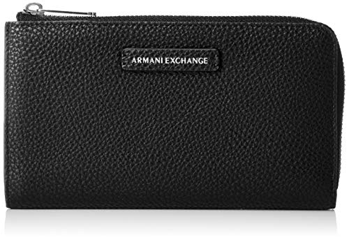 Armani Exchange Damen Round Zip Wallet Geldbörse, Schwarz (Black), 11x2x19 cm