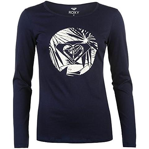 Roxy Mujer Básico Camiseta Estampa Algodón Casual Manga Larga Cuello Redondo
