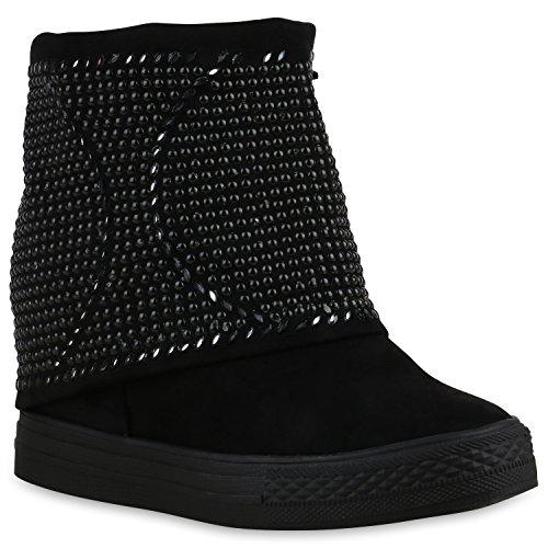 Sportliche Damen Stiefeletten Sneakerstiefel Nieten Strass Boots Schwarz