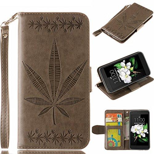 YHUISEN Geprägte Maple Leaf Design PU-Leder Flip Wallet Stand Case mit Kartensteckplatz für LG K7 ( Color : Rose ) Gray