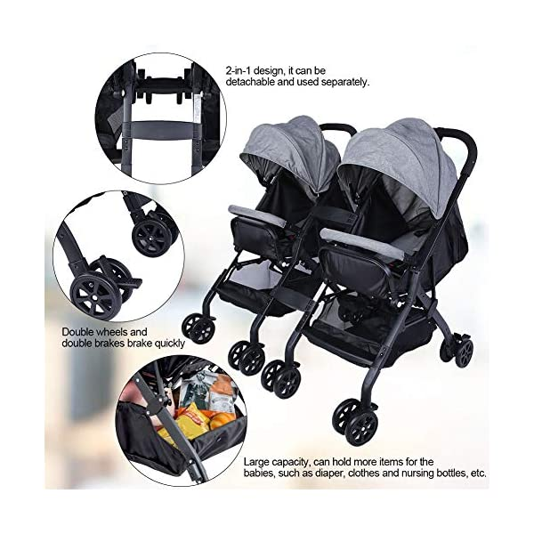 lyrlody Baby Stroller,Lightweight Twin Pushchair Detachable Double Stroller Multifunction Folding Anti-Shock Pram with Baby Cup Holder for Babies Toddlers Children Kids Grey lyrlody LIGHTWEIGHT DESIGN:2 in 1 design, can be detached and used separately.Shock resistant design can effectively prevent external shock and keep your baby's brain Durable:Made of aluminum alloy material, very sturdy.With the baby cup holder, it is convenient for your baby to drink water Very Convenient:Large capacity, can hold more items for children, such as diapers, clothes and bottles 5
