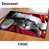 Christmas mat cartoon cute rectangular door bedroom bathroom non-slip 40 * 60cm green mats , c956u , 40*60cm