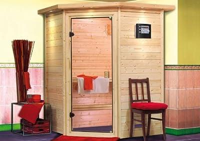 Alicja - Karibu Sauna Plug & Play ohne Ofen - ohne Dachkranz - von Woodfeeling GmbH auf Du und dein Garten