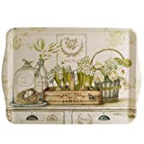 OPUS Tablett JARDIN Natur weiss grün Landhaus, mit bemaltem Dekor, 46 x 32 cm