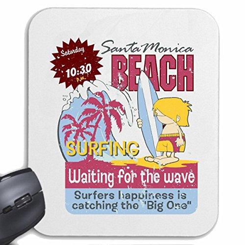 Reifen-Markt Mousepad (Mauspad) Santa Monica Beach SURFEN Beach Surfbrett Longboard Wellenreiten Wellen ANFÄNGER Shop für ihren Laptop, Notebook oder Internet PC (mit Windows Linux usw.) in Weiß