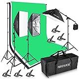 Neewer 2,6*3m Hintergrund-Unterstützungssystem und 3er 1,8x2,8m Kulisse, 2400W 5500K Beleuchtung-Installationssatz für Fotografie-Video-Studio-Aufnahme