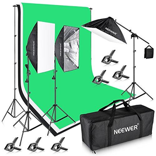 Neewer–2,6* 3m Sistema de soporte de fondo y 31,8x 2,8m fotografía, 2400W 5500K Iluminación Juego de Instalación para fotografía de vídeo de Estudio de grabación