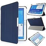 iHarbort® Samsung Galaxy Tab 4 10.1 Funda - ultra delgado ligero Funda de piel de cuerpo entero para Samsung Galaxy Tab 4 10.1 (T530 T535), con la función del sueño / despierta (azul oscuro)
