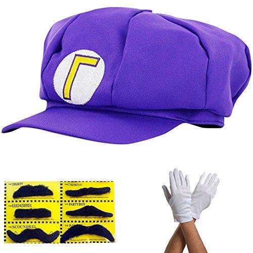 Super Mario Mütze LILA WALUIGI Komplett SET mit Handschuhe und Klebe-Bärte für Erwachsene und Kinder Karneval Fasching Verkleidung Kostüm Mützen Hut Cap Herren Damen (Hut Waluigi Kostüm)