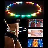 Umiwe LED Fitness Hoop Batteriebetriebene und Collapsable Tragbare Hula Zubehör - 36 Zoll 23 Farbe Strobing und Ändern von LED-Leuchten - Light Up Hoops
