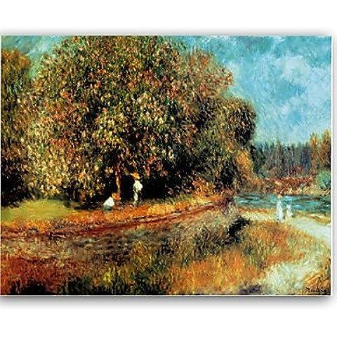 OFLADYH ® dipinti a mano olio di castagno in fiore dipinto da Pierre-Auguste Renoir con telaio allungato , l