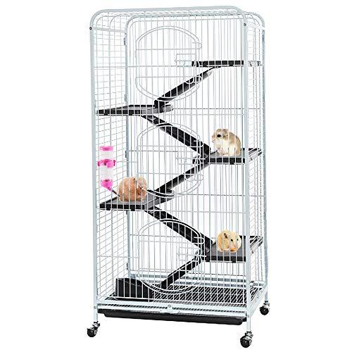 Aufun Käfig für Ratten Hamster,Frettchen, Meerschweinchen, Chinchilla, Kaninchen Rattenkäfig mit 3 Fronttür 6 Schichten 132x64.5x44.5cm