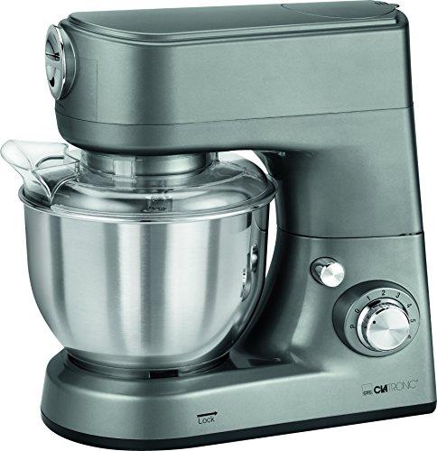 Clatronic KM 3648 leistungsstarke multifunktionale Küchenmaschine, 1000 W, 5 L Edelstahlrührschüssel, titan
